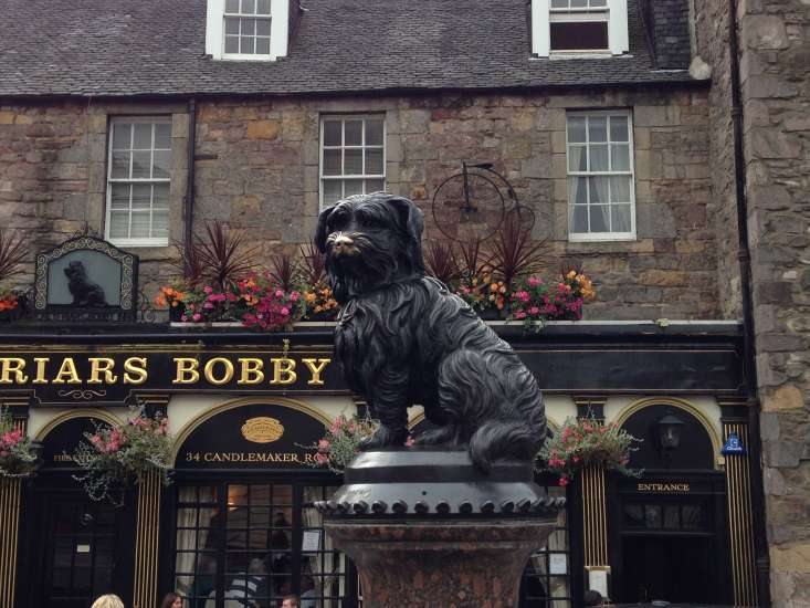 This fountain honors Greyfriars Bobby, the Scottish terrier who is said to have watched over his owner's grave in Greyfriars Kirkyard for 14 years.