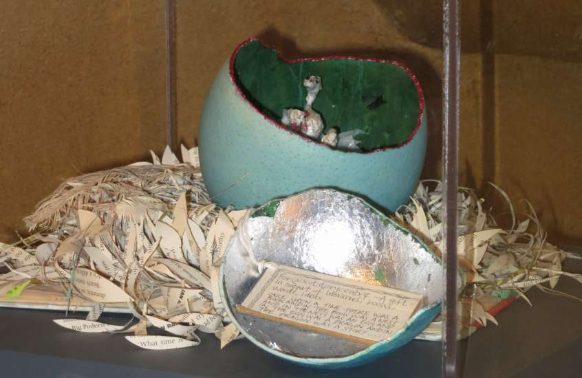 One of Edinburgh's mysterious book sculptures, which hatched at the Scottish Storytelling Centre.