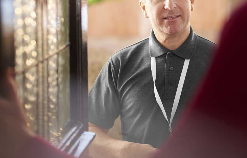 Missionary at a front door
