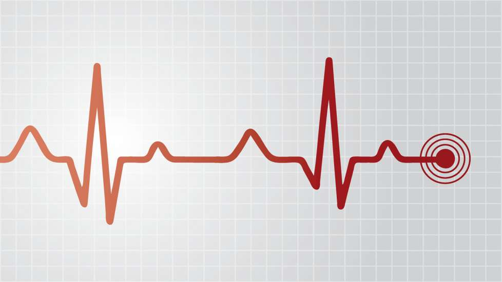 A red medical life line on a graph.