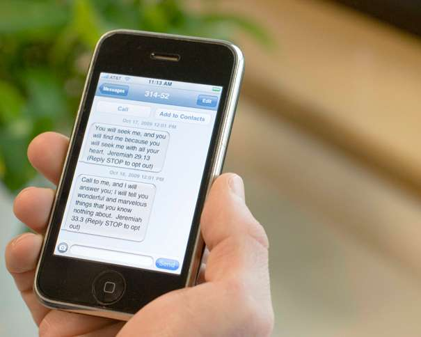 Guideposts: A closeup shot of scriptural tweets appearing on a smart phone