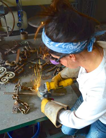 Guideposts: Catherine at work in her studio