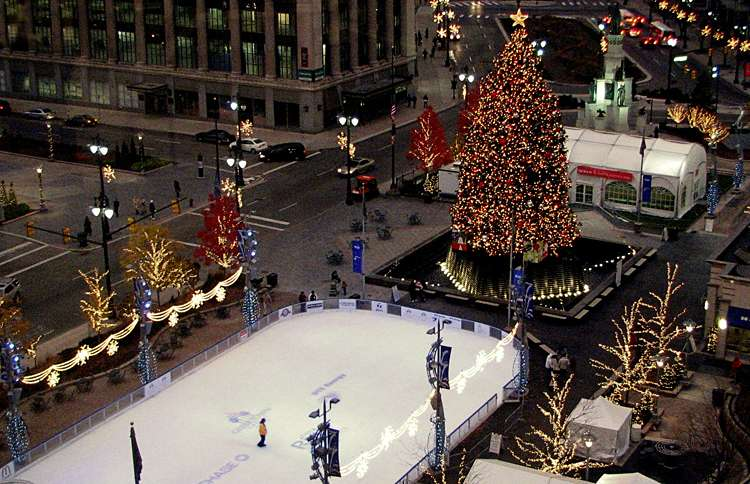 Guideposts: This 60-foot, 10,000-lb. Christmas tree is set aglow in downtown Detroit each year.