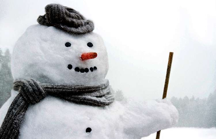 Guideposts: A snowman with a carrot for a nose and wearing a scarf and cap