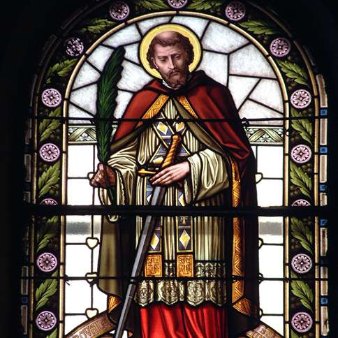 Guideposts: St. Valentine, as rendered in stained glass