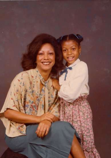 Taraji P. Henson as a child with her mom