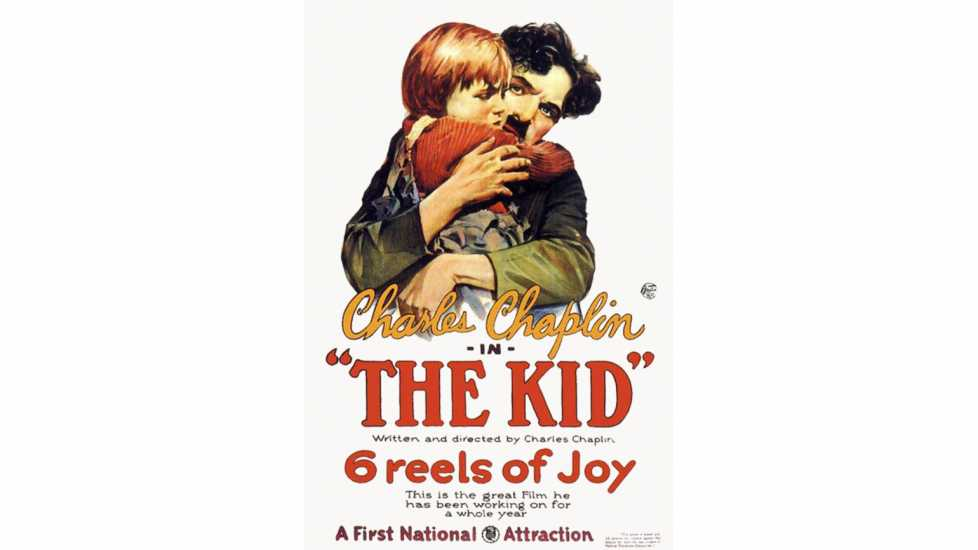 Publicity poster for Charlie Chaplin's 1921 movie The Kid. Charlie Chaplin and Jackie Coogan.