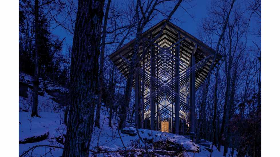 Thorncrown Chapel in Eureka Springs, AR. East Elevation in Snow, Sunrise, February 2015.