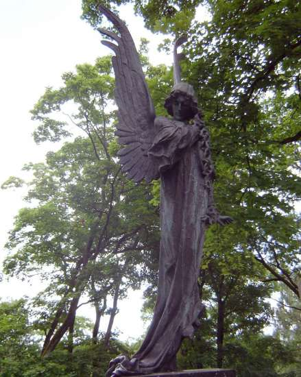 This angel stands in a cemetery that was founded in 1769 and is the final resting place for many famous Lithuanian, Polish, and Byelorussian writers and artists.