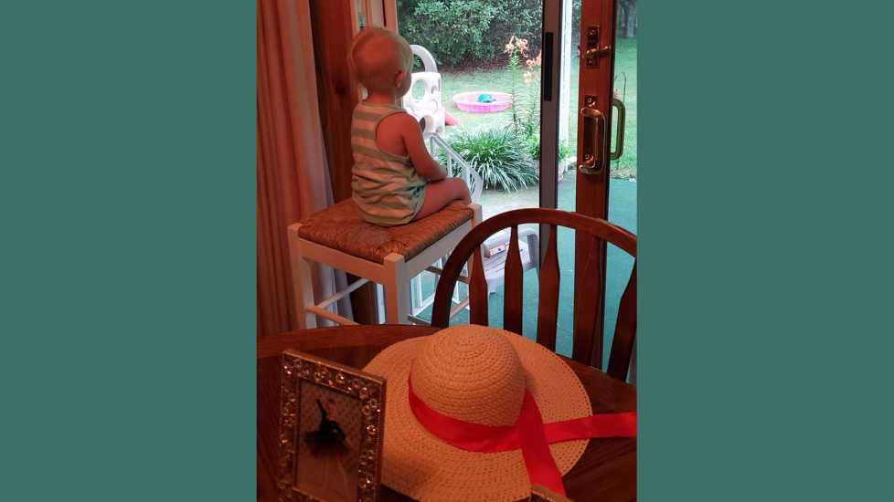 My youngest granddaughter, Anna, looks out the patio into the spring flowers.