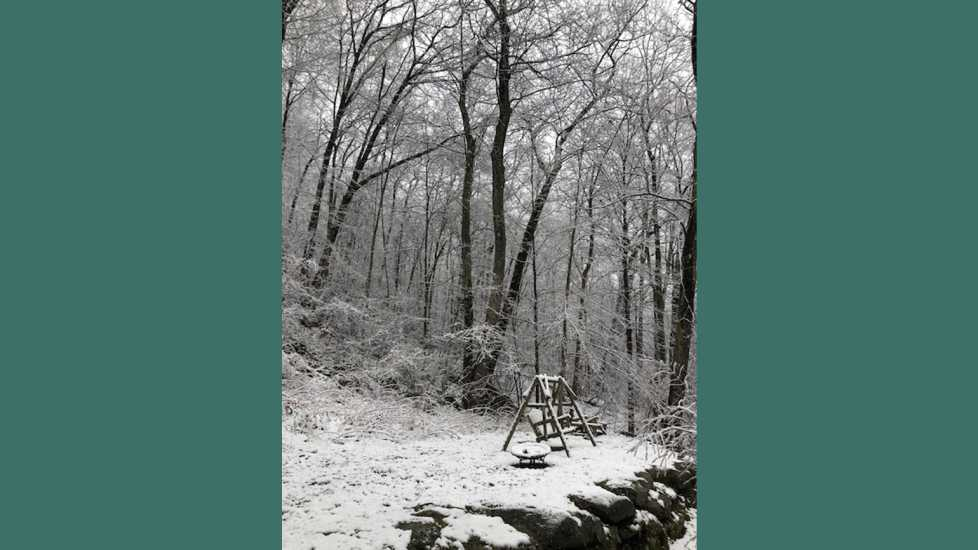 Late April snow in the Berkshires of Western Massachusetts.