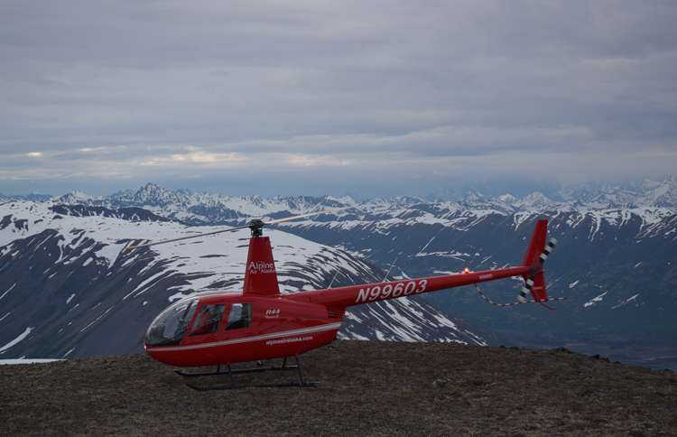Alpine Air helicopter in Alaska near Winterlake Lodge