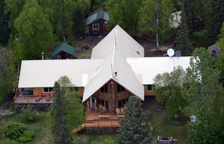 Alaska winterlake lodge aerival view