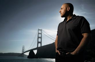 Kevin Hines gazes out at the bridge from which he once made a near-sucidal leap