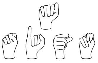 An illustration of the sign language for I love you