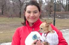 Go Fetch Run instructor Angie holding her dog