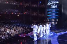 "Seven American Idol finalists perform ""Shout to the Lord."""