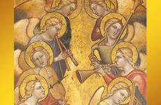 artwork with angels playing instruments