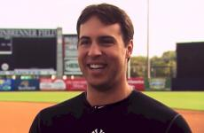 Mark Teixeira giving interview