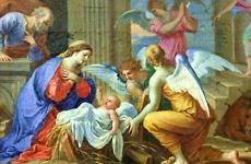A nativity scene with Christmas angels