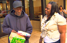 A homeless man thanks Kasonja for her kindness.