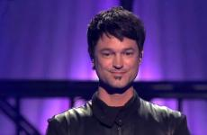 "Jeff Gutt appears onstage during ""The X-Factor USA."""