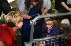 Jennifer Lawrence greets a wheelchair-bound fan, 15-year-old Jessica Hambly.