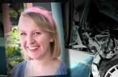 A photo of Katie Lentz, superimposed over a shot of her mangled car