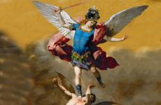 Archangel Michael crushing an evil demon