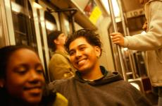 Happy people on the subway