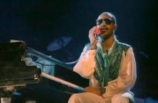 """Stevie Wonder in a shot from his video for """"I Just Called to Say I Love You"""""""