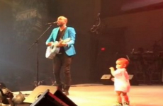 Singer, Coffey Anderson, is joined on stage by his toddler son.