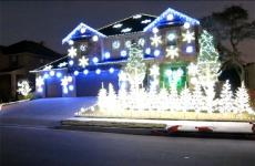 A house festooned with an amazing display of holiday lights